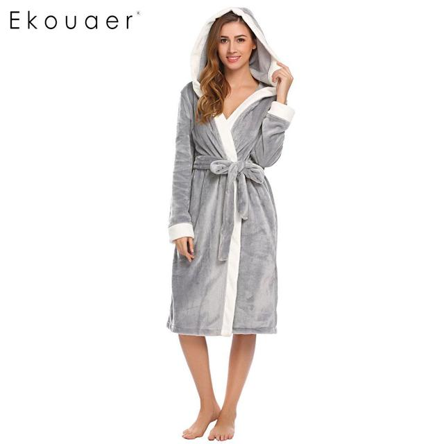 af86f36a2f Ekouaer Women Sleepwear Nightwear Kimono Robe Hooded Bathrobes Long Sleeve  Soft Plush Long Dressing Gown Bathroom Robes