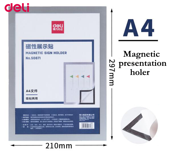 Deli 2pcs White Board Hanging Wall Soft Magnetic Strong Suction A4/A3 Pressure-sensitive Adhesive Magnetic Presentation Folder