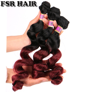 Image 4 - FSR black to golden burgundy Ombre Hair weave 16 18 20 Inches 3pcs/lot Synthetic Hair extension loose wave bundles for women