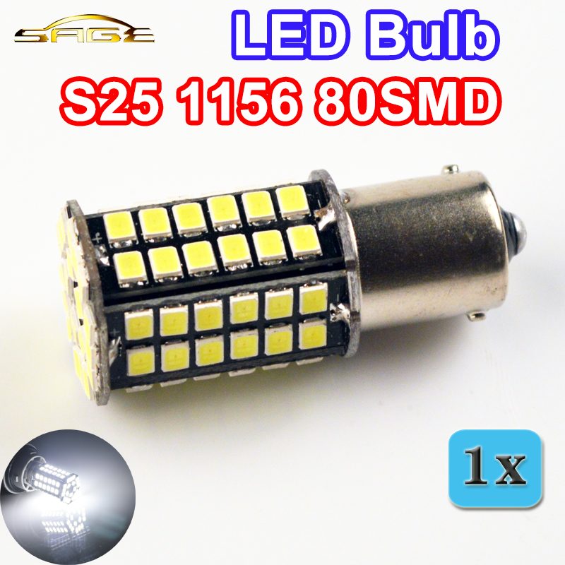 flytop 1156 80SMD BA15S 3528SMD 5W Car LED Bulb White Color Auto Brake Lamp Automotive Turn Signal Light 12V High Power 10x car 9 smd led 1156 ba15s 12v bulb lamp truck car moto tail turn signal light white red blue yellow ba15s 1156 aa