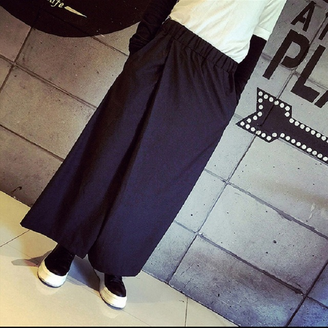 HZIJUE Men Wide Leg Trousers Linen Male Fashion Casual Harem Pant Japan Style Comfortable Skirt Pant 5