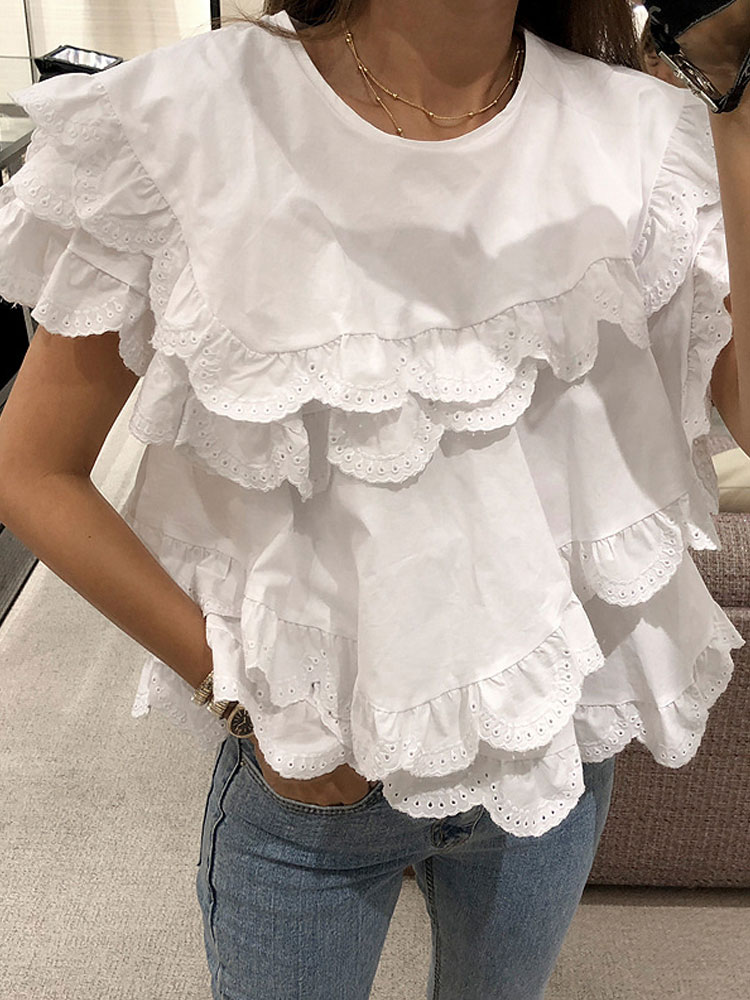 2019 Spring And Summer Elegant Women Shirts Irregular Layers Of Wooden Ear Doll Shirts Hollow Lace Stitching Flounce Shirts