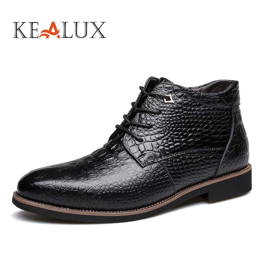 26606ad30937f Kealux más tamaño 38-46 nuevo invierno Mens moda de piel de nieve botas de  alta calidad de cuero genuino tobillo ocasional cocodrilo botas calientes