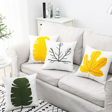 Modern Leaf Embroidery Pillow Case Simple Pattern Throw Cover 45*45cm Hidden Zipper Cushion For Living Room Bedroom
