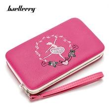 Купить с кэшбэком Baellerry Luxury Female Wallet Long Embroidery Dancer Pattern Women Wallets Red  Pink Womens Wallets And Purses Girls Clutch Bag