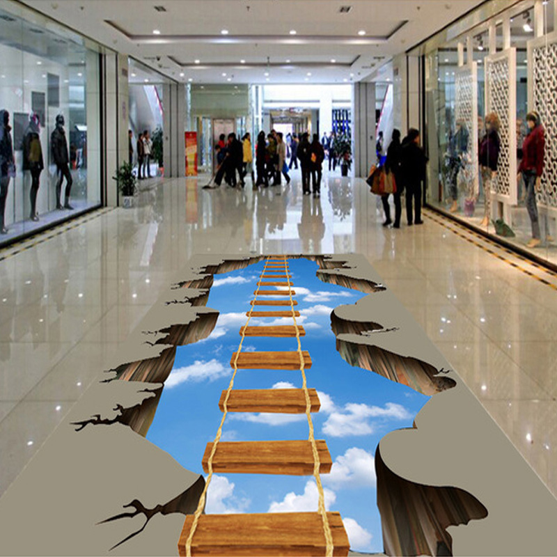 Custom Photo Floor Wallpaper 3D HD Adventure Cliff Mural Park Plaza Shopping Mall Non-slip Waterproof Self-adhesive Wallpaper