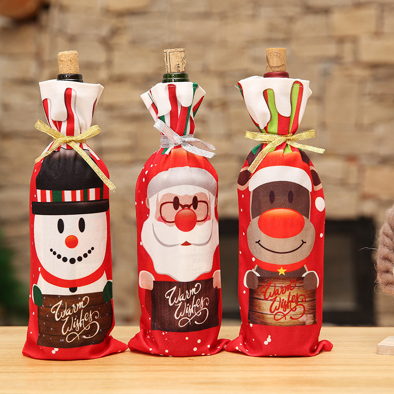 1pc Cute Chrismas Cartoon Santa Claus Snow Man Bag Red Wine Bottle Cover Bags for Christmas Home Party Table Decoration 8