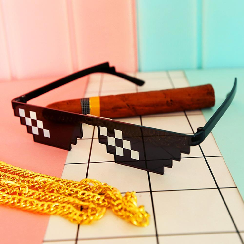 Unisex Sunglasses Toy Funny Thug Life Glasses 8 Bit Pixel Deal With IT Sunglasses For Children Adults Fun Using Free Shipping
