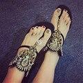 Handmade Women Gladiator Sandals Summer Flip Flops Rhinestone Back Zip Flat Shoes Woman Flats Casual Shoes Woman Sandalias Mujer