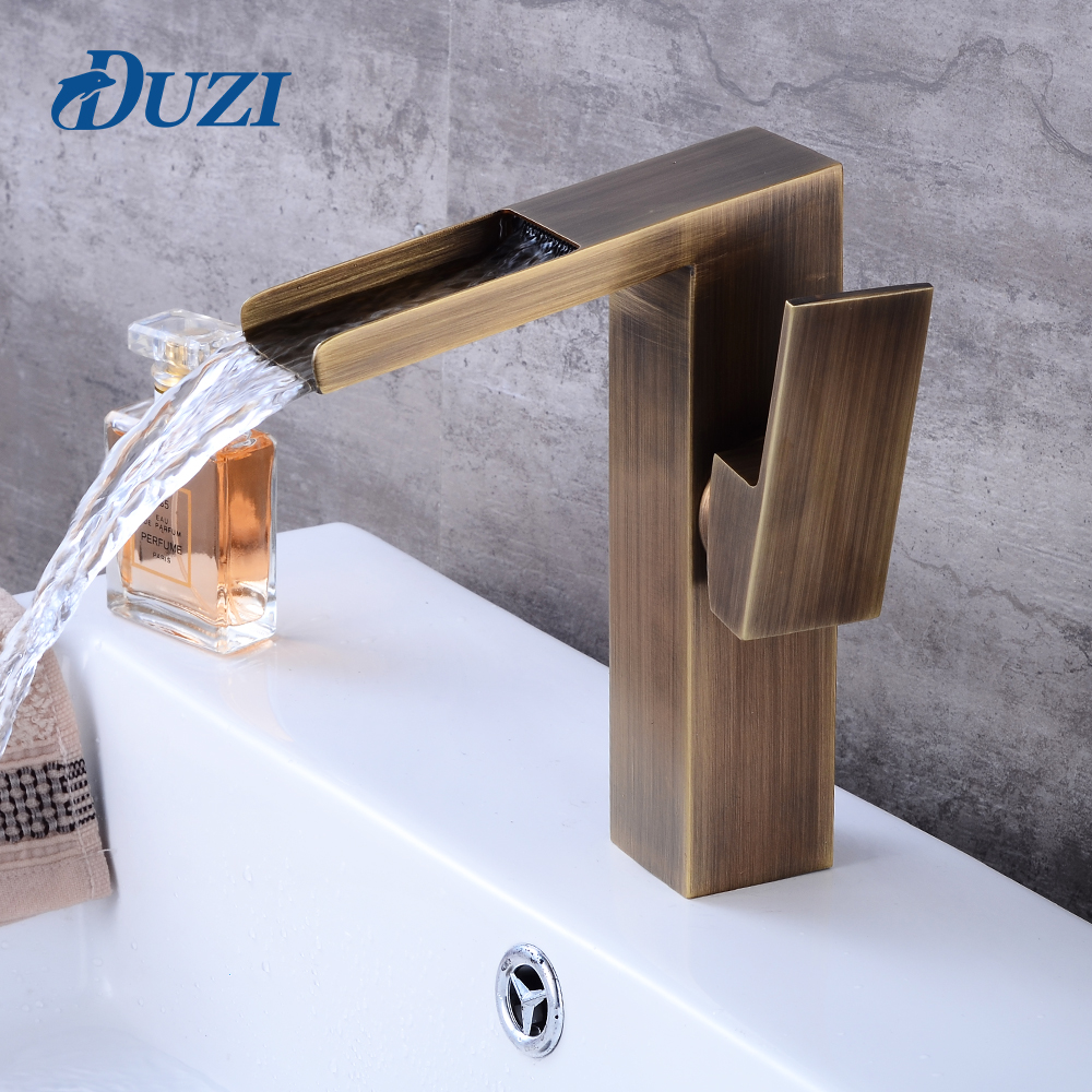 DUZI Waterfall Water Mixer Antique Brass Bathroom Sink Faucet Hot and Cold Bathroom Vanity Basin Mixer Tap Waterfall Faucets flg basin faucets modern orb bathroom faucet waterfall faucets single hole cold and hot water tap basin faucet mixer taps