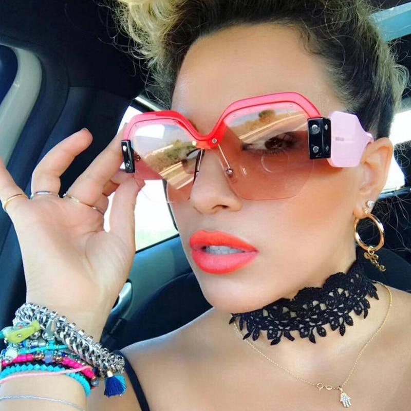 ALOZ MICC Luxury Sunglasses Women Newest Unique Oversized One Pieces Sunglasses For Women Sexy Half Frame Shades Oculos De Q118