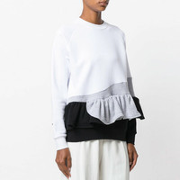 Women Cotton Casual Round Neck Blouse Long Sleeve Camisas Femininas Manga Longa 2017 Fashion Ruffles Autumn