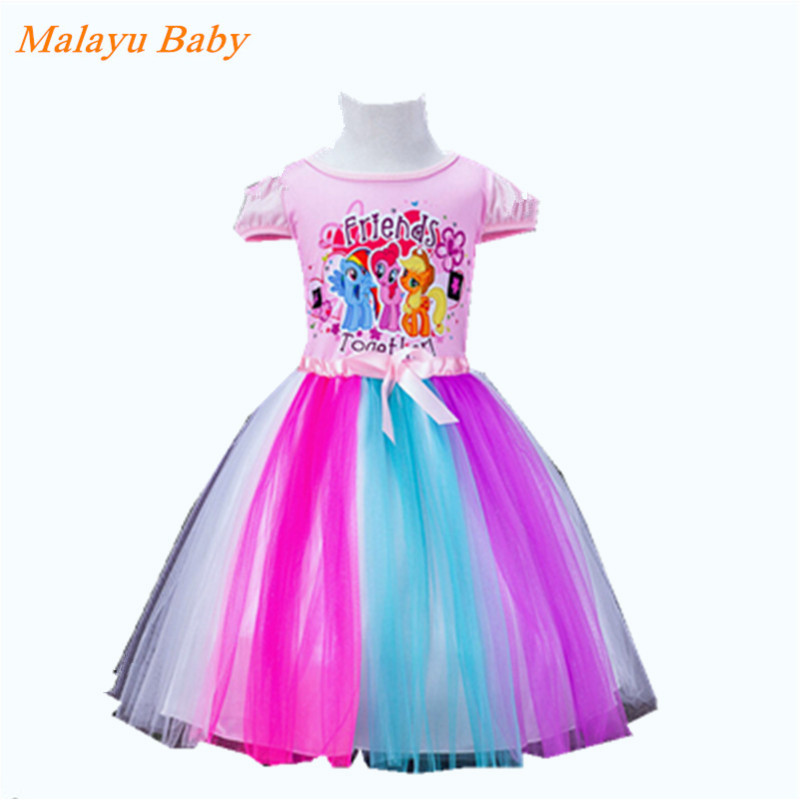 Malayu Baby 2018 New Girl Princess Dress Up Kids Pony / Anna Girl Short Sleeve Cotton Ballet Dress Girl's Christmas Dress the pony mad princess princess ellie s christmas