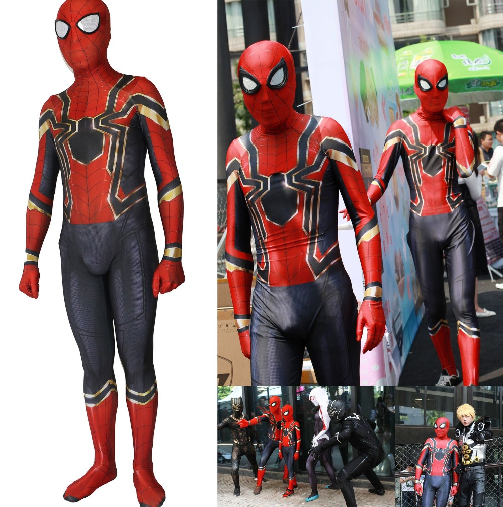 Spiderman Homecoming Cosplay Costume Zentai Iron Spider Man Superhero Bodysuit Suit Halloween Jumpsuits