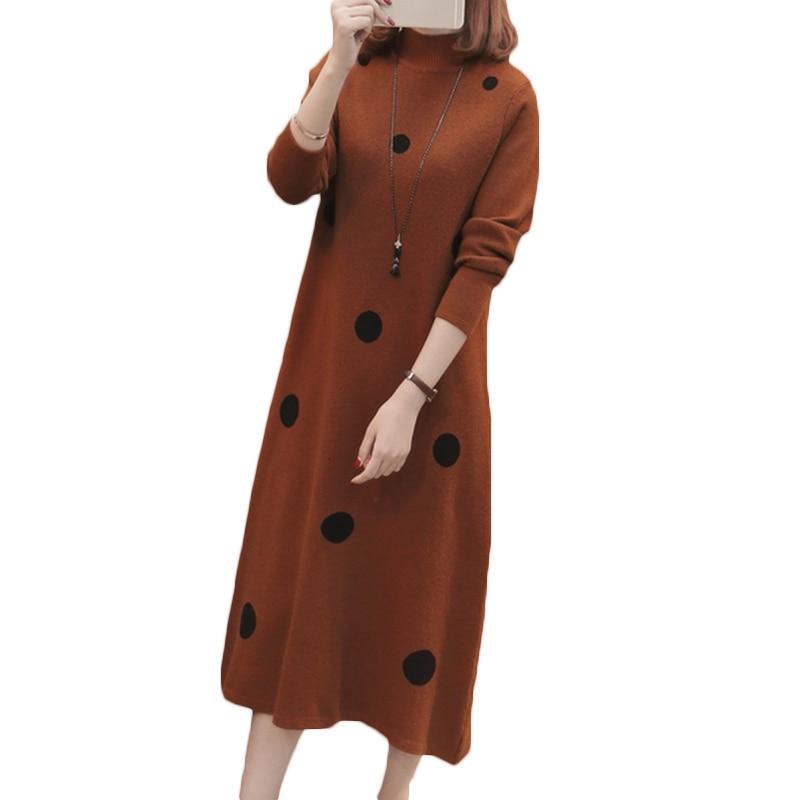 2018 Autumn Winter New Korean Women's Dot Long Sweater Dress Loose Large Size Half Turtleneck Knit Sweater Dress LQ291