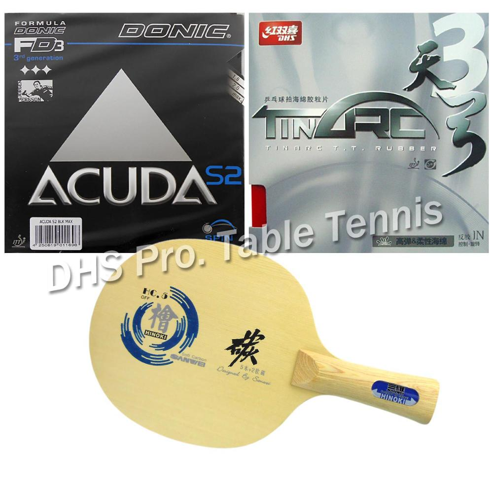 Pro Table Tennis Combo Paddle Racket Sanwei HC.5 with DHS TinArc3 and Donic ACUDA S2 Sha ...