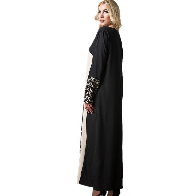 Women Long Dress Black Red Long Sleeve Lace patchwork