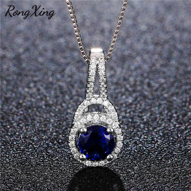 RongXing Fashion Geometric Round Blue Birthstone Choker 925 Sterling Silver Filled White Zircon Pendant Necklaces For Women Gift