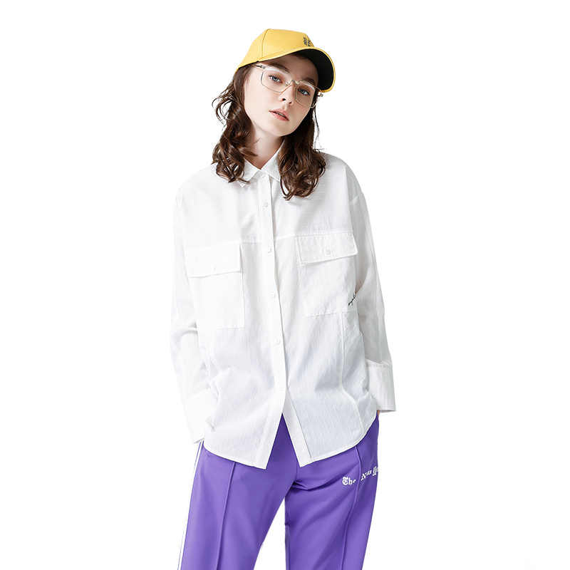 Toyouth 2018 Весна Для женщин Белые блузы свободные Рубашки для мальчиков для Для женщин Леди Мода Блузка Элегантный однобортный с длинным рукавом
