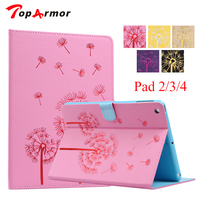 TopArmor Brand For IPad 4 Dandelion Printing Design Stand Flip Leather Case For Apple IPad 2
