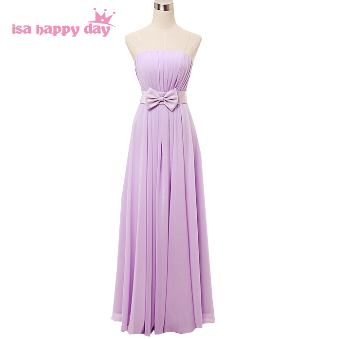purple formal lavender modest girls chiffon   bridesmaids     dress   elegant   bridesmaid   long   dresses   for wedding guests H2742