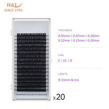 H&L SINCE 1990 16Rows Faux mink individual eyelash lashes maquiagem cilios for professionals soft mink eyelash extension