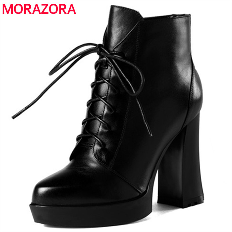 MORAZORA Spuer heels shoes woman fashion neutral platform boots zipper cow leather ankle boots for women spring autumn morazora ankle boots for women fashion shoes woman cow suede leather boots solid zipper platform womens boots size 34 40