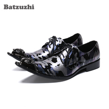 Batzuzhi Luxury Handmade Men Leather Shoes Formal Genuine Leather Dress Shoes Men Lace-up Business Party Shoes chaussure homm derby shoes men genuine leather luxury brand handmade vintage retro office formal party wedding dress shoes men