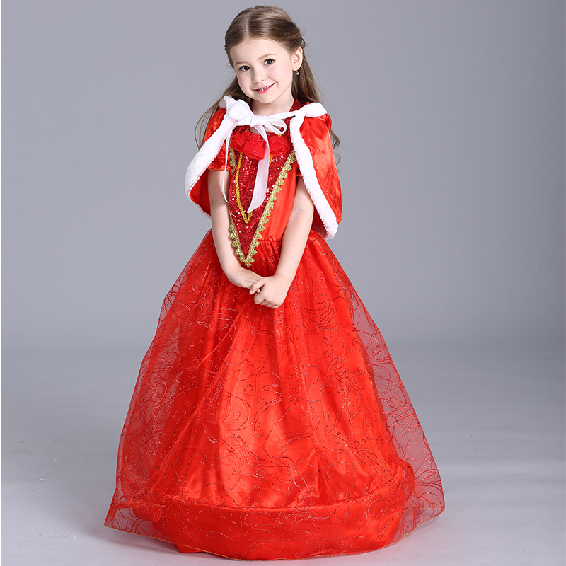 MOONIGHT Halloween Little Red Riding Hood Dress Girls Christmas Red Costume Long Dress Party Princess Dress