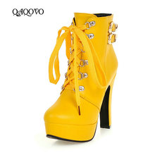 Women Ankle Boots Square High Heel Martin Boots Fashion Cross Tied Platform Round Toe Autumn Winter Shoes Black Yellow White цены