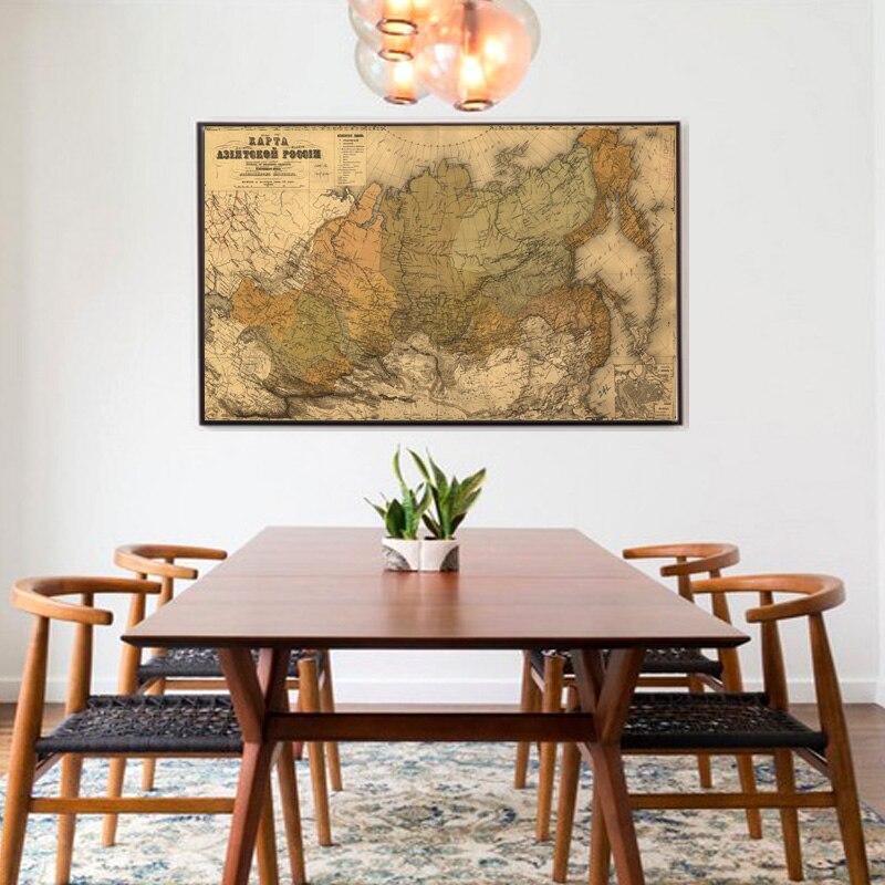 1PCS Unframed ruský jazyk Mapa Mapa plátna Vintage Mapa Nástěnné malby Obrázky Umění pro ložnice Obývací pokoj Salon