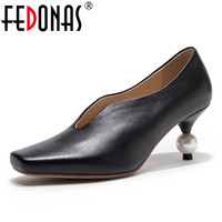 FEDONAS Sexy Women High Heels Pearl Pumps Shoes Woman Fashion Sexy Elegant Genuine Leather Party Prom Shoes Pumps