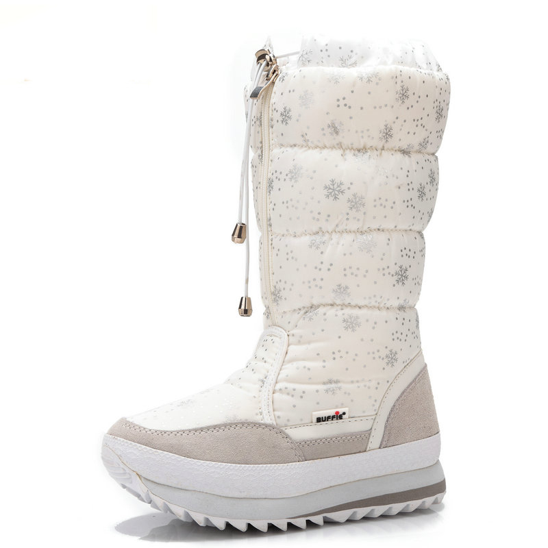 Women Boots Plush Warm Snow Boots mid-calf Waterproof Shoes