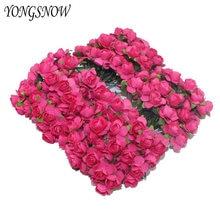 ce99543f0 2 cm cabeza multicolor flores de papel artificial Rose para el regalo de la  decoración de. 14 colores disponibles