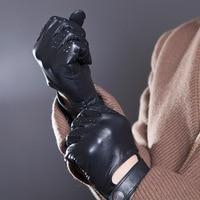 Erkek Sonbahar ve Kış Hakiki Deri Eldiven Yeni Moda Marka Siyah Sıcak Sürüş Çizgisiz Eldiven Keçi Eldivenler Ücretsiz Nakliye