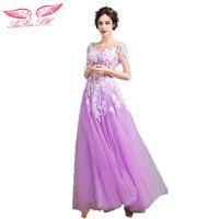 AnXin SH Romantische schoonheid paars bloem perspectief lange avondjurk etentje prinses avondjurk 8181