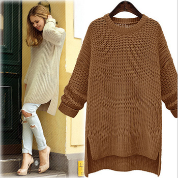 2019 Winter Midi Long Thick Sweaters for Women New Irregular O-Neck Cute Solid Knitted Pullovers Girls Lady Casual Split Sweater 1
