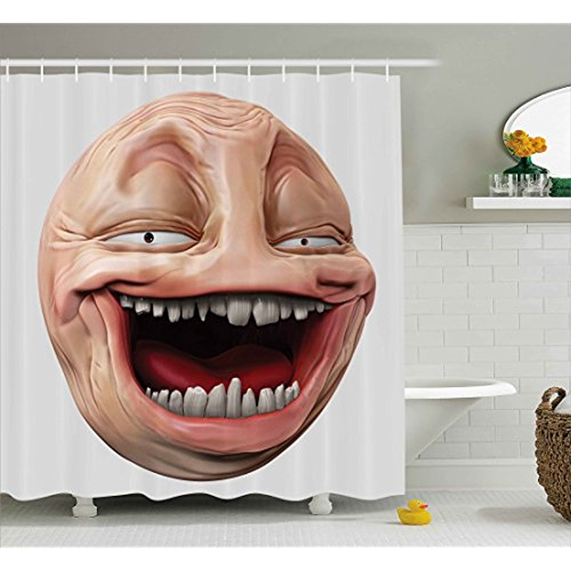 Vixm Humor Decor Shower Curtain Poker Face Guy Meme Laughing Mock Person Smug Stupid Odd Post Forum Graphic Fabric Bath Curtains image