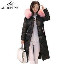 Али toptina зимние пальто обувь для женщин 2017 г. зимние Мужские парки Для женщин длинный хлопок высокое качество теплые женские утепленная верхняя одежда с капюшоном Mf05