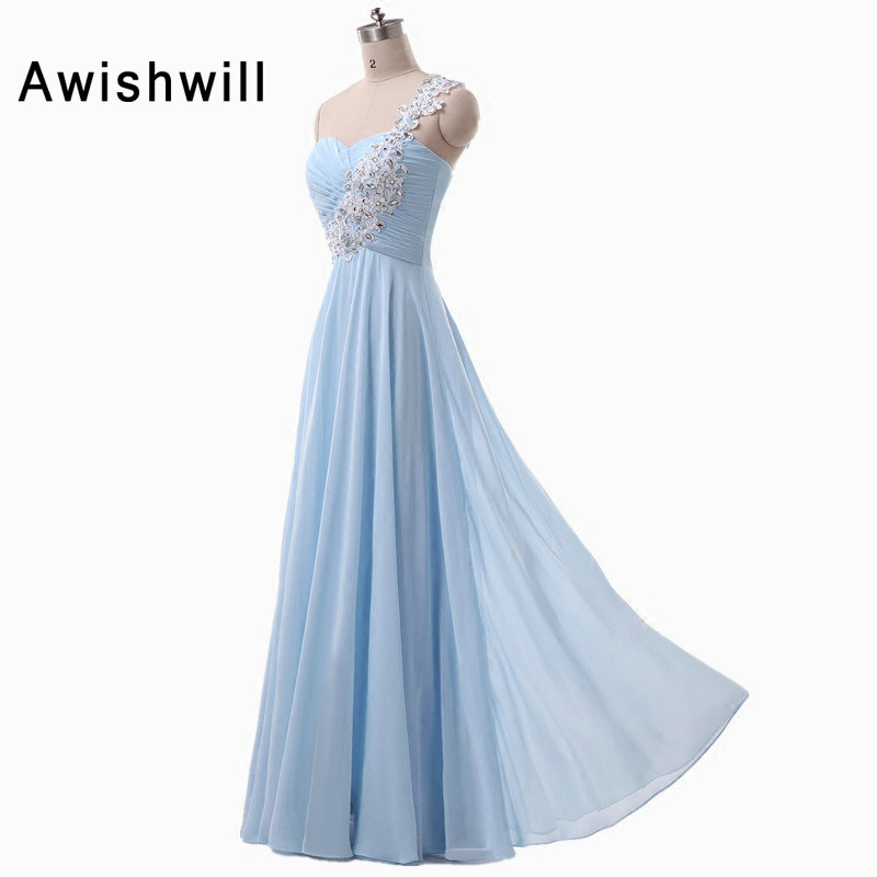 a1f4eec33d5 Real Pictures One Shoulder Applique Beaded Chiffon Lace-up Back Floor  Length Bridesmaid Dresses Long