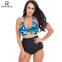 Plus Size Bikini Women Swimsuit 2016 Beach Retro Push Up Bikini Set High Waisted Bathing Suits