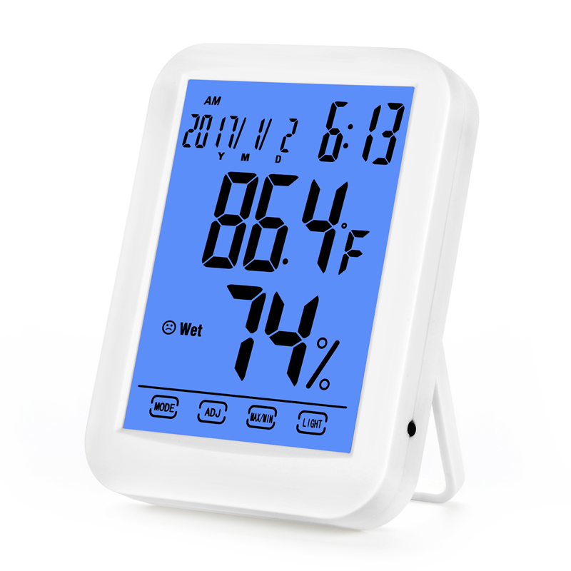 Digital Thermometer Hygrometer LCD Touch Screen Temperature Humidity Meter Indoor Weather Station with Blue Backlight & Clock