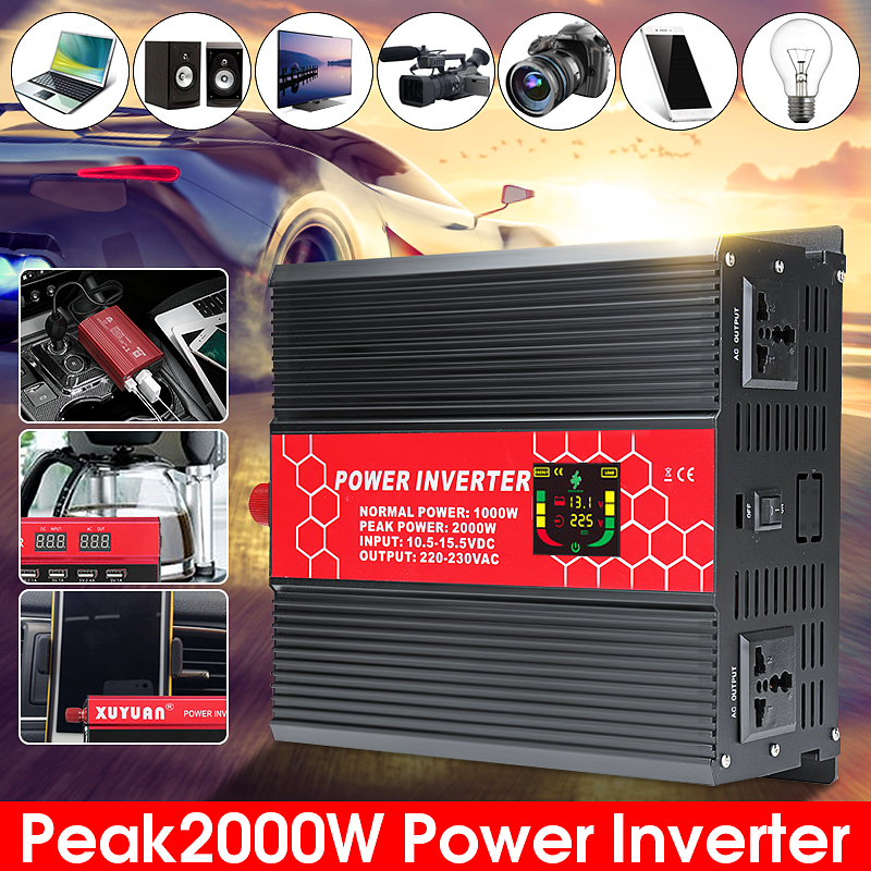 1000W 2000W Peaks Power Inverter 12V/24V To 110V/220V Modifed Sine Wave Smart LCD Converter 1pcs lot sh b17 50w 220v to 110v 110v to 220v