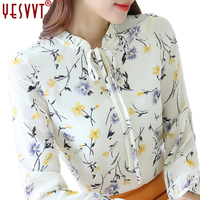 2017 autumn women's blouses Floral Print Chiffon Blouse Ruffled Collar Bow Neck Shirt Petal Short Sleeve Chiffon Tops Plus Size