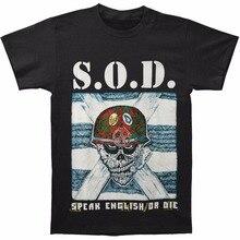 3308cf682 phiking Shirt For Tops Male Funny S.O.D. Speak English Die T-Shirt Black  Print Short