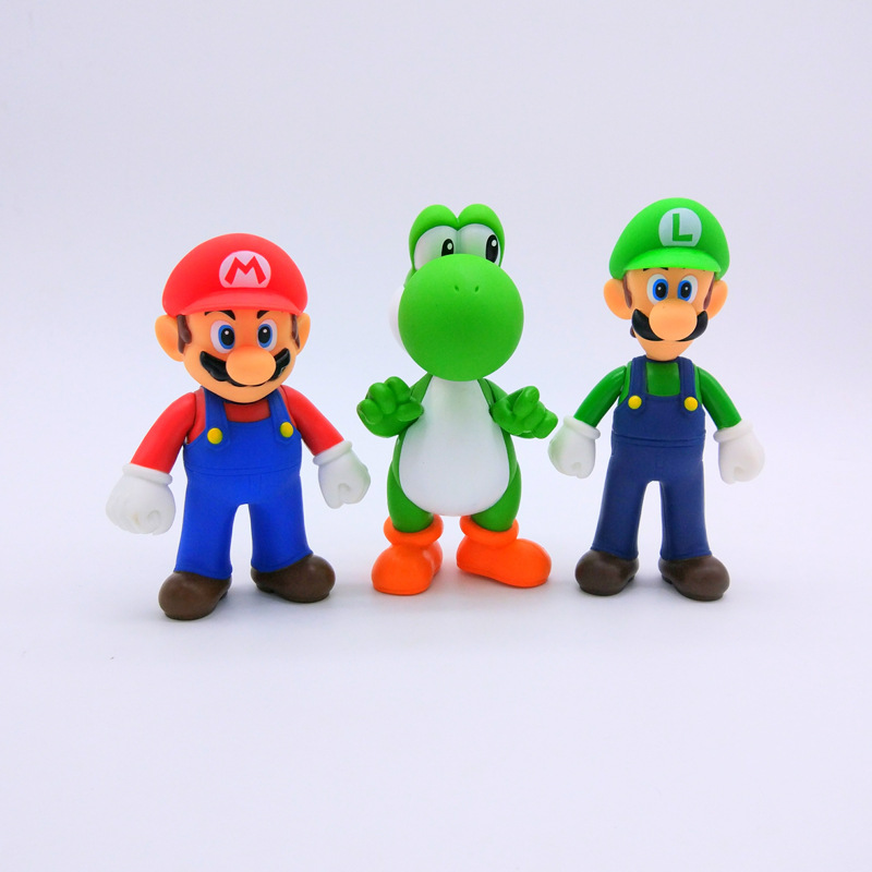 Hot ! Mario 12cm Super Mario bro Luigi Fire Mario Action Figure Collection Toy Dolls 5 Styles Model Gift Toys For Children