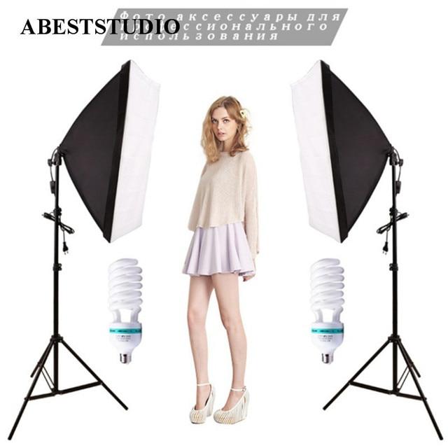 hot sell Photo Studio set 2 x 135W bulb +2 x Lighting stand +2 x Soft box  Photo Studio Kit Photography Studio Portrait Product