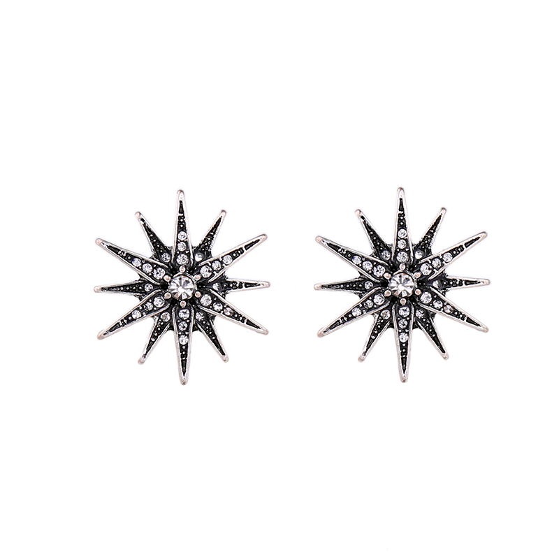 New Brand Brilliant Crystal Stars Stud Earrings Antique Silver Color Statement Jewelry Retro Accessory for Women
