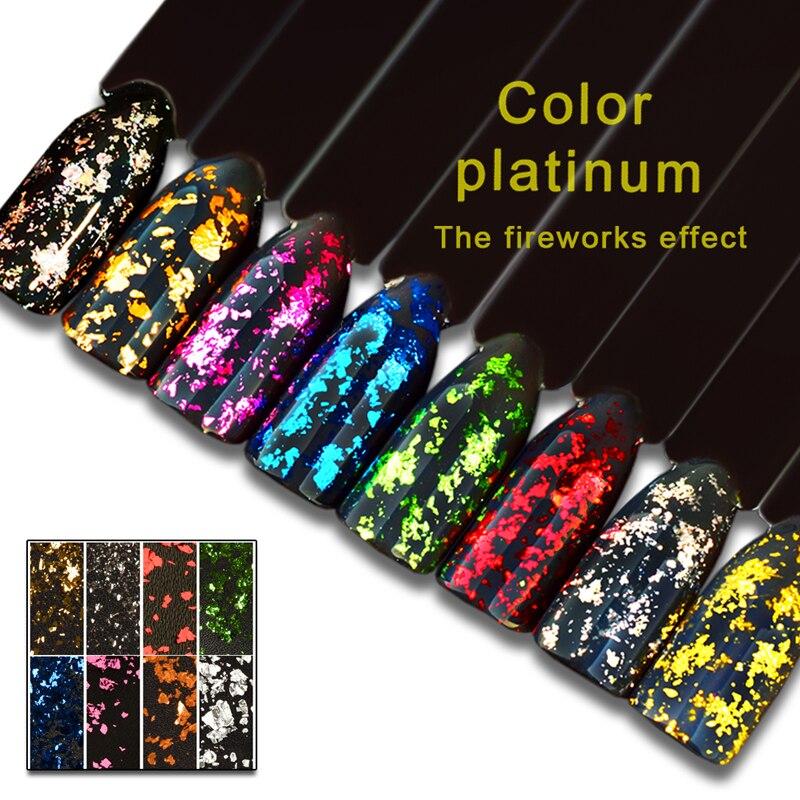 HYEN 8 Colors Platinum Foil Flakes Pigment Mirror Chrome 0.2g Nail ...