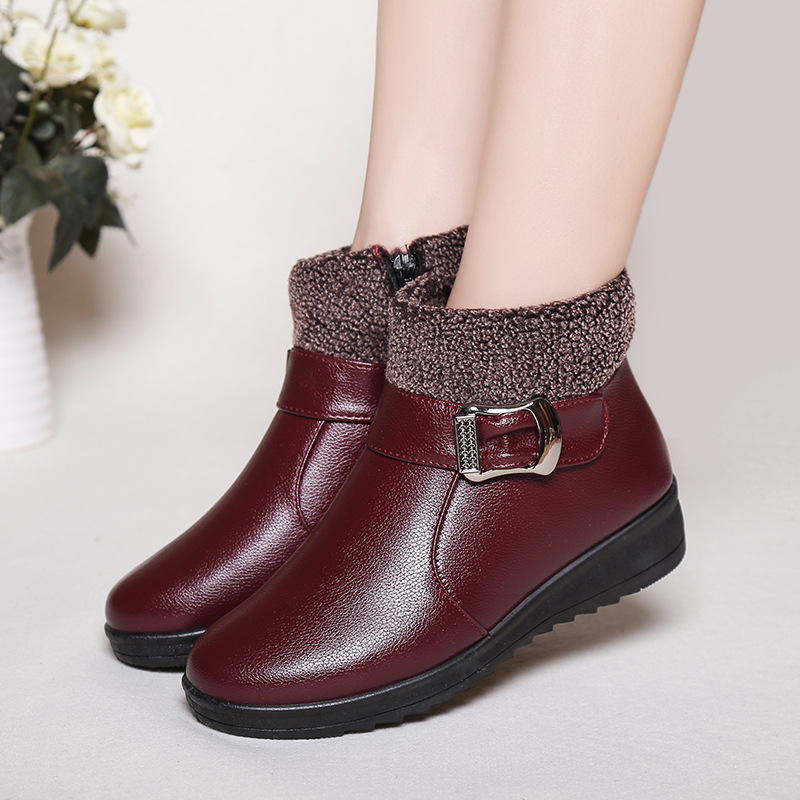 Women Boots Warm Winter Boots Female Fashion Women Shoes Leather Ankle Boot For Women Botas Mujer Plush Insole Snow Shoes women boots warm winter boots female fashion women shoes faux suede ankle boots for women botas mujer plush insole snow boots
